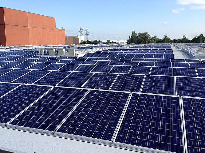Solaranlage auf einem Industriedach.